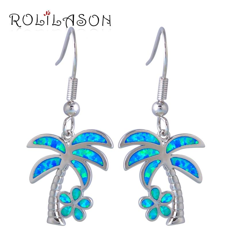 ROLILASON Mükəmməl Sterling Gümüş örtüklü zərgərlik moda hindistan cevizi ağacı Mavi Opal Drop qadınlar üçün sürünmək sırğalar OE578