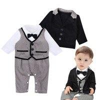 2017 New Arrival Boy Gentleman Suit Baby Bow Tie Romper Coat 2 Pcs Clothing Set Infant