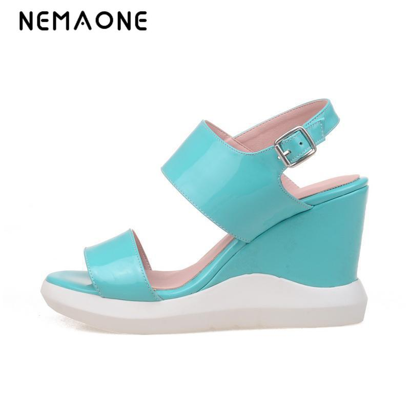 New Women Sweet Buckle Open Toe Wedges Sandals Women's Platform Sandals Fashion Summer Shoes Woman Casual Shoes High-heels free shipping fashion 2017 new summer wedges platform sandals women black and white open toe high heels female shoes z596
