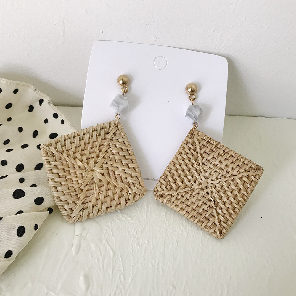 Korea Earrings Bamboo Vine Straw Holiday Earrings Wood Geometric Fan Shape Rattan Female Retro Ear Rings2019 Boho Summer Jewelry in Drop Earrings from Jewelry Accessories