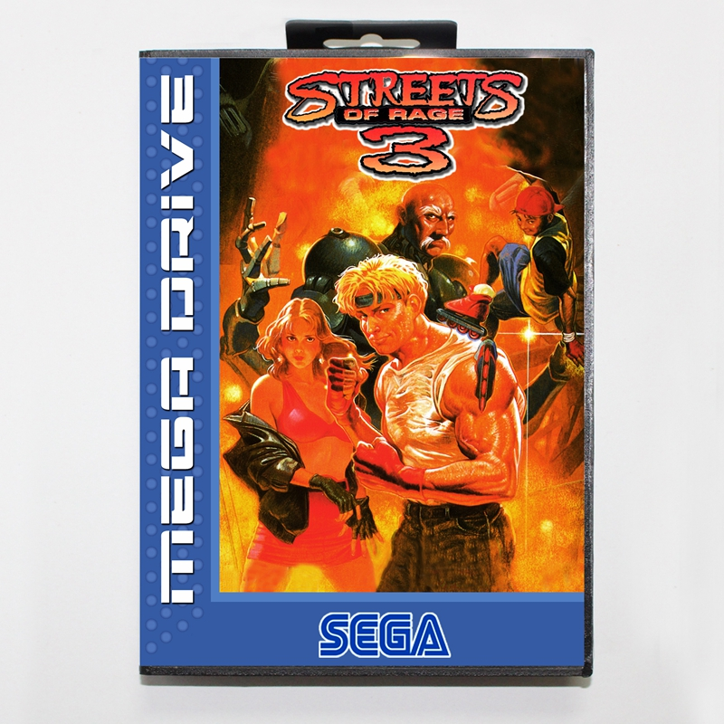 Sega MD games card - Streets of Rage 3 with box for Sega MegaDrive Video Game Console 16 bit MD card
