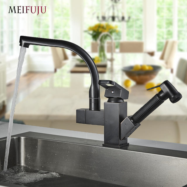 Aliexpresscom Buy Gold Kitchen Faucets Brass With Two Spouts Pull