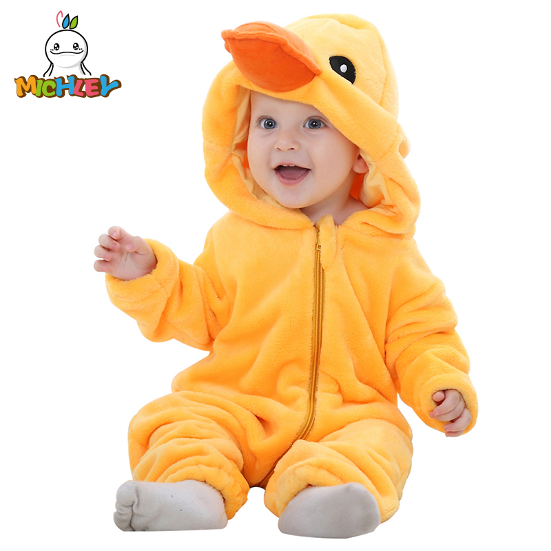 MICHLEY Baby Rompers Yellow Duck Girls Clothes New Born Cartoon Pajamas Warm Winter Animal Cosplay Flannel Outfits XYZ-duck