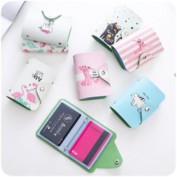 Women Leather Card Case Credit Card Holder Student Cute Cartoon ID Cards Wallet Passport Business Card Holder Book Protector