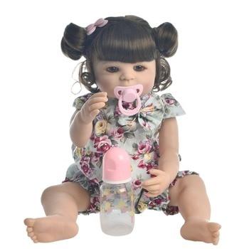 "23"" Full Silicone Reborn Baby Doll Toys Lifelike modeling infant dolls baby vinyl newborn play house toys boneca lol princess"