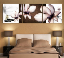 HOME DECOR High Precision  Set of 3 Quietly elegant large flowers Stretched canvas oil painting printer Ready to Hang