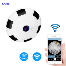 Kruiqi HD 1080P WiFi IP Camera 360 Degree 1.3MP Wireless Fisheye CCTV Mini Video Storage Max 64GB Remote IR-CUT Audio-in