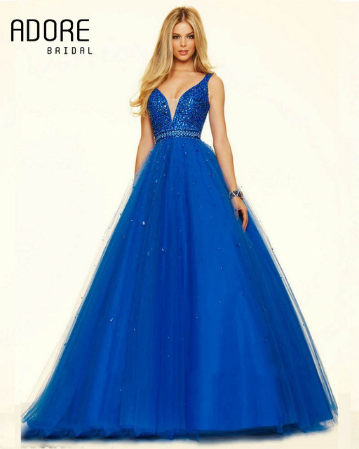 Elegant new Royal Blue Champagne Red A-line Tulle Prom Dresses beautiful  evening party special occasion gowns with shiny crystal 3e41899ccb93