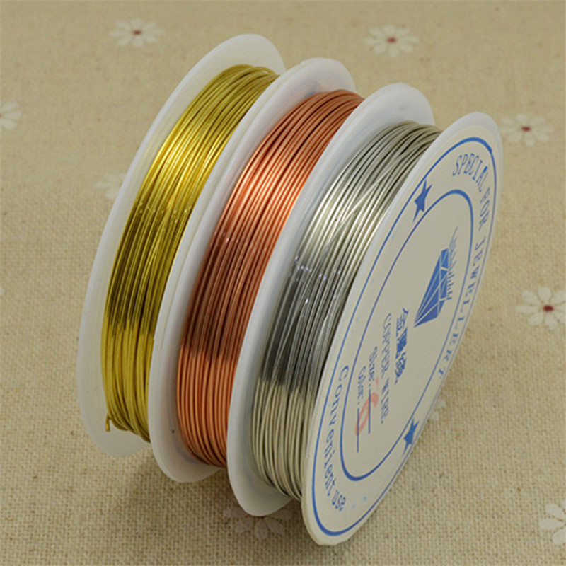 1roll Copper Wire Color Dia 0.2 0.3 0.4 0.5 0.6 0.7 0.8 1mm Beading Thread Gold Silver Color Metal String For DIY Jewelry Making