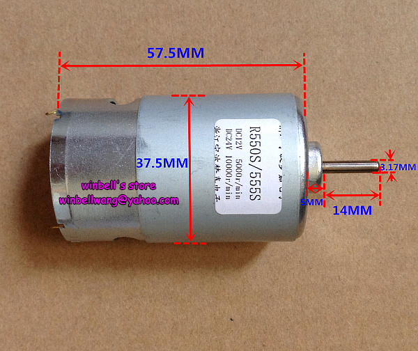 Brand new 550 555 carbon brush motor 12v 5000rpm 24v for 10000 rpm dc motor