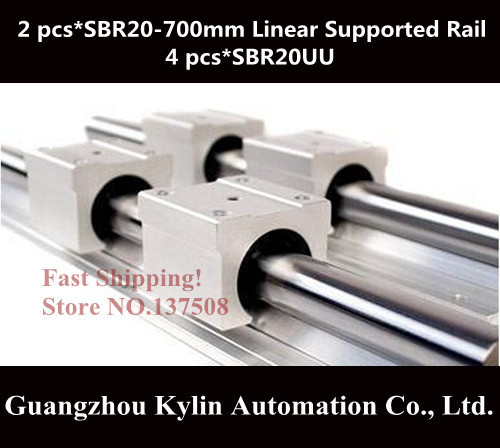 Best Price! 2 pcs SBR20 700mm linear bearing supported rails+4 pcs SBR20UU bearing blocks,sbr20 length 700mm for CNC parts все цены