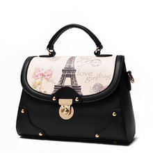 England Style Ladies PU Handbag Korean Style Designer Printing Shoulder Bag Fashion Casual Ladylike Flap Bag Women Crossbody Bag