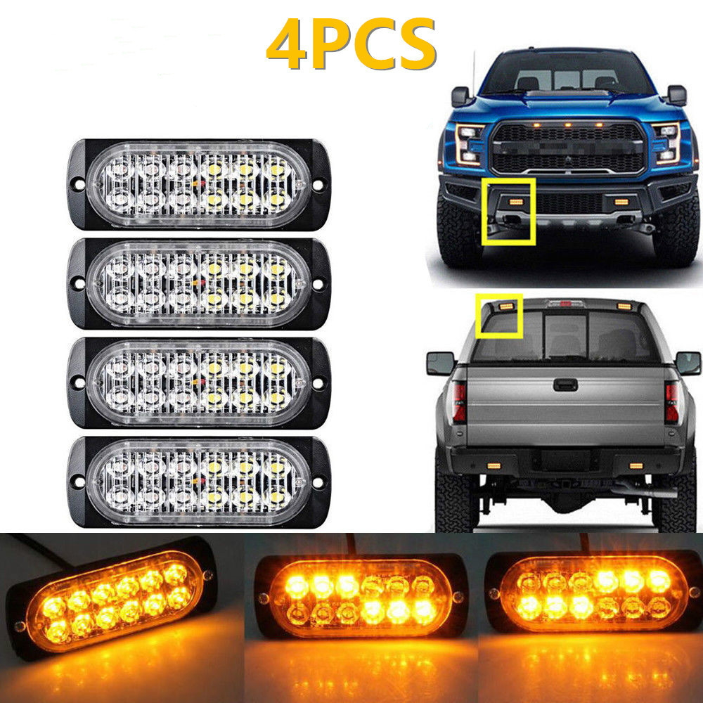 4 Pcs Car Suv Truck Ultra-thin 12led Side Emergency Strobe Flashing Warning Light 12v 24v 36w High Power Red/blue/yellow/orange