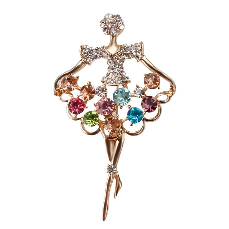 Elegant Bridal Set Heavy Gold Plated Diamante Crystal: Gold Plated Crystal Diamante Dancing Ballet Girl Brooches