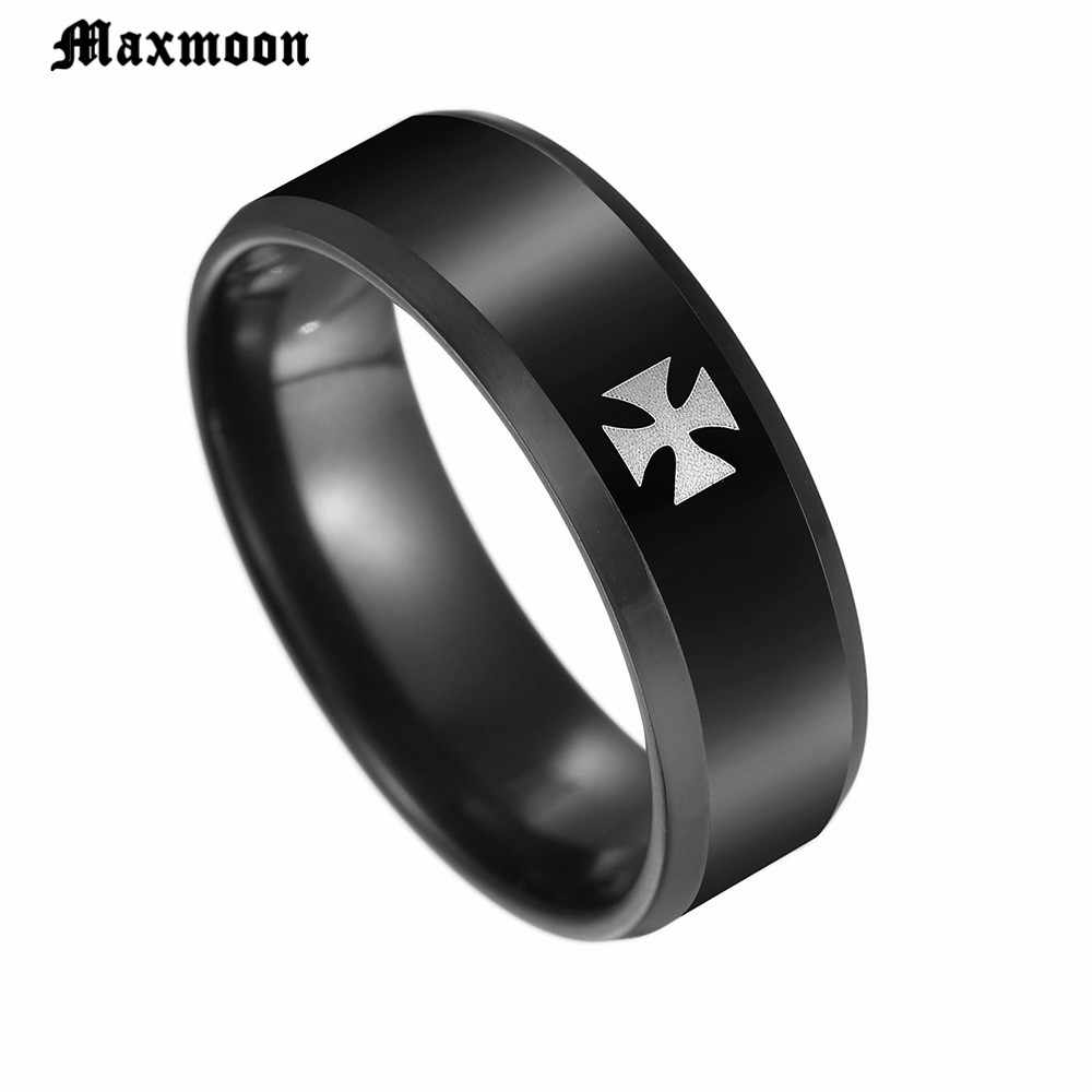 Maxmoon Cross Ring for Men Woman Black Color Stainless Steel Cool Male Casual Design Jewelry Wedding Band