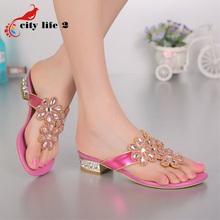 Fashion Crystal Wedge Sandals High Heeled Summer Shoes font b Women b font 2016 New Genuine