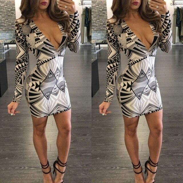 3e6821f1d49 Sexy Women Clothing Deep V Mini Dress Long Sleeve Women Dresses Geo pattern  Bodycon Slim Dress S M L XL