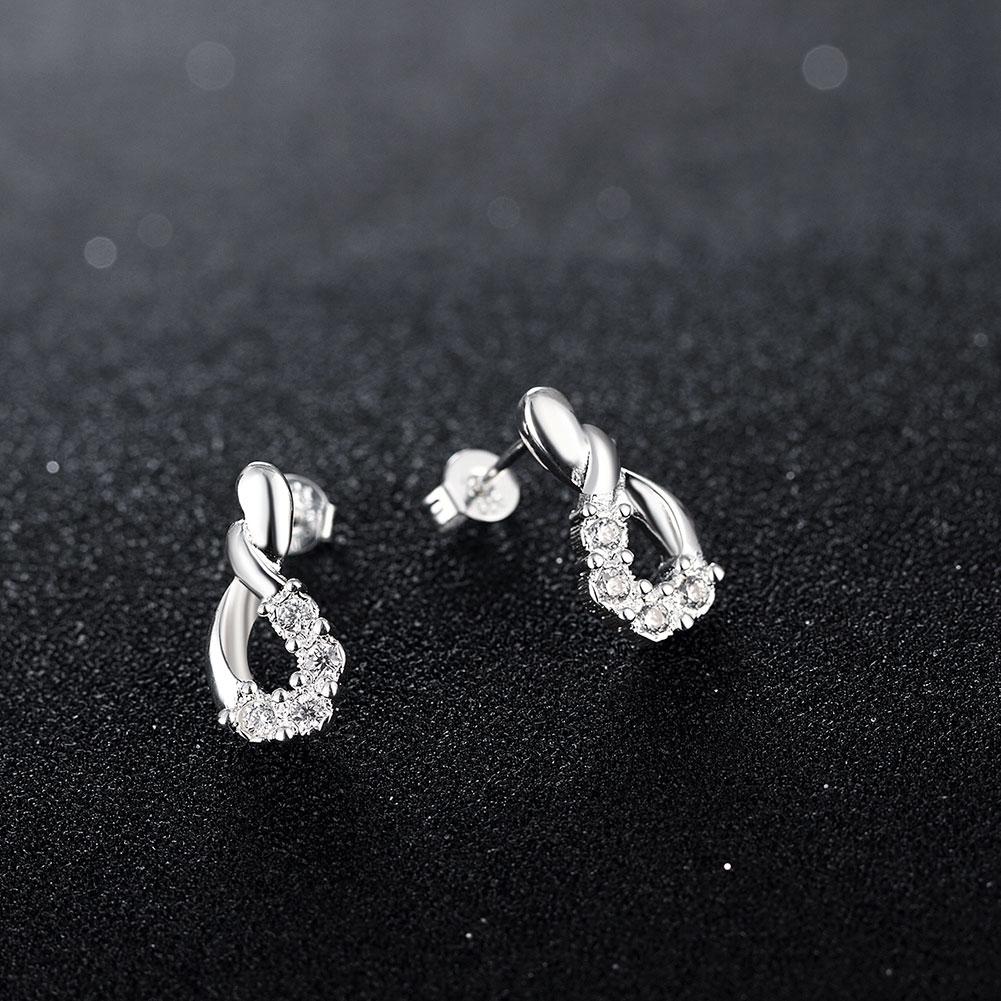 925 Sterling Silver Infinity Shape Earrings