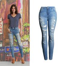 2018 ropa casual moda Hole ripped Algodón elástico apretado jeans Mujer  alta cintura lavado Denim lápiz pantalones 049 e36cba2922e