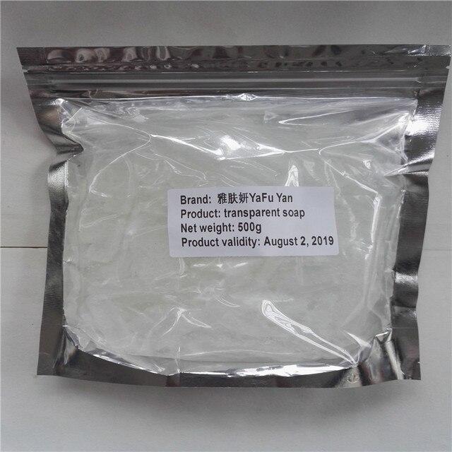 US $15 4 30% OFF Cosmetica 500 g/zak Natuurlijke handgemaakte zeep,  transparante zeep palmolie en kokosolie Maken de huid schoon smering in  Cosmetica