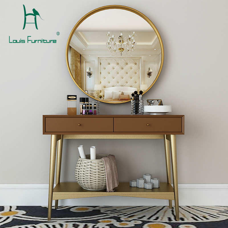 Us 364 9 Louis Fashion Dressers Nordic Iron Solid Wood Multifunctional Table Economical Small Apartment In Dressers From Furniture On Aliexpress Com