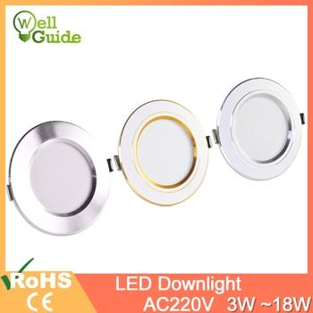 Downlight gold Silver White Ultra Thin Aluminum led downlight 3W 5W 9W 12W 15W 18W AC220V 240V Round Recessed LED Spot Lighting