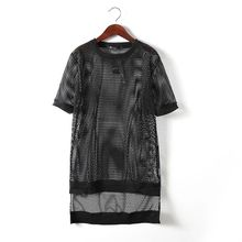 2016 Summer Sexy Hollow Extended Grid t shirt men Short sleeve Black Slim fit Punk rock