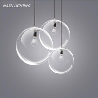 Selene Pure Glass Pendant Light E27 led Clear Glass Pendant Lights Lamps bedroom Dining room kitchen round glass drop lights
