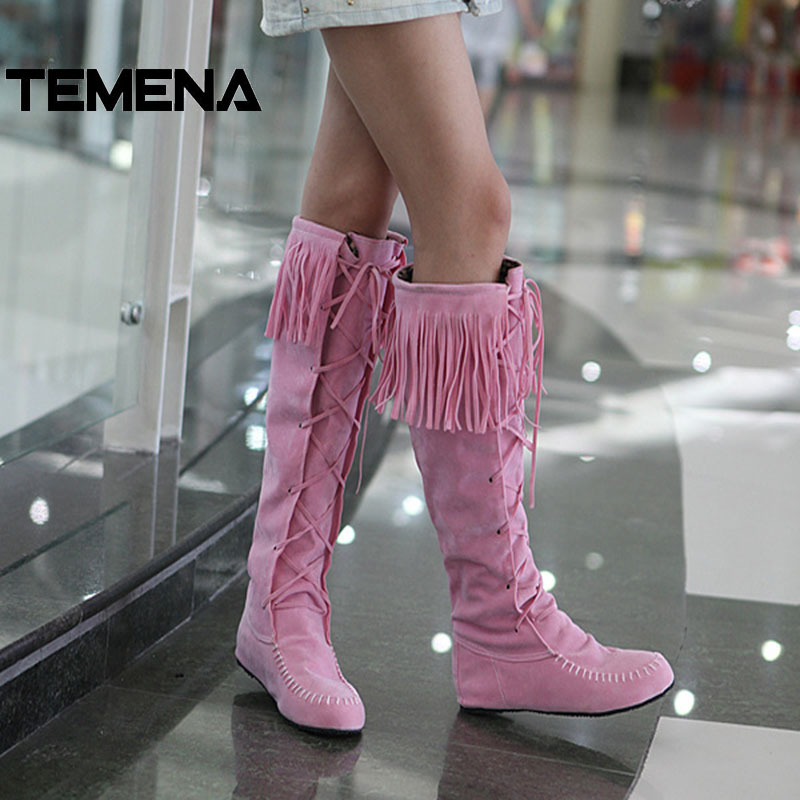 Europe America Flats Lace Up Tassel Nubuck Leather Spring Autumn Winter Women Knee High Boots Size 4.5-9 Dropshipping AWB716 europe america style spring autumn women genuine leather thin high heel lace up low cut fashion denim shoes size 34 41 sxq0709