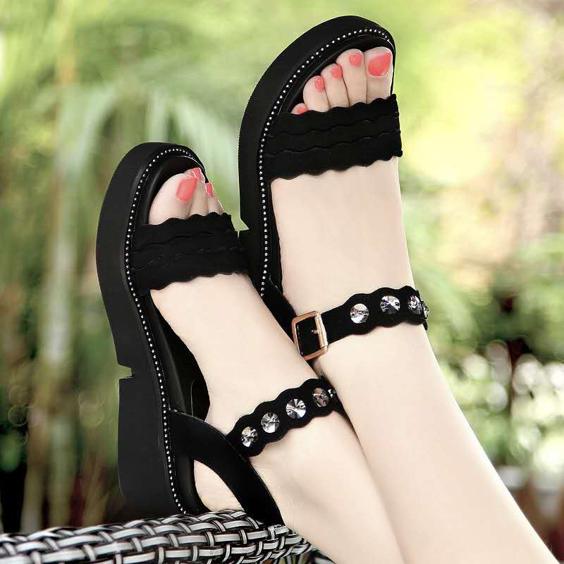 High Quality Wedges Women Sandals For 2019 Fashion Breathable Comfort Ladies Shoes Summer Platform Black Sandals Plus Size 34 43 in Middle Heels from Shoes