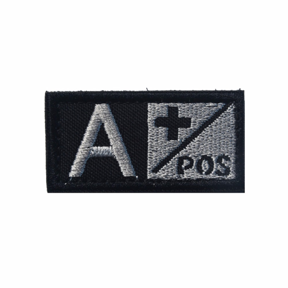 Blood Type A B O AB Style Rectangle Embroidery Flag Tactical Patch Applique Armbands Badge Strap New
