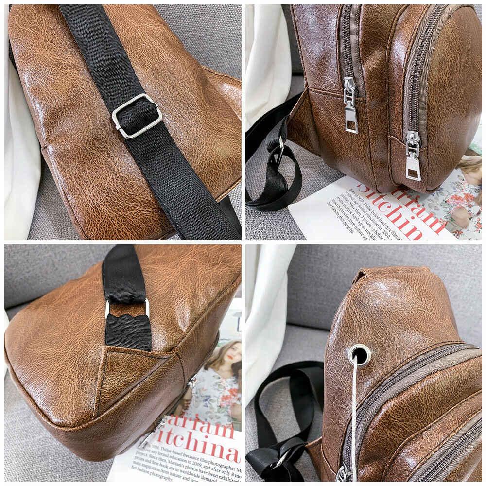 Bolso informal Retro para hombre, bolso de pecho de cuero PU, bandolera de cuerpo cruzado, agujero de carga USB al aire libre