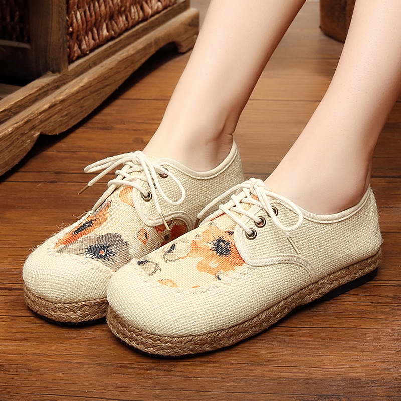 hemp cotton lace cloth shoes women autumn breathable comfortable pastoral floral linen shoes womens female Loafers Driving Shoes in Women 39 s Vulcanize Shoes from Shoes