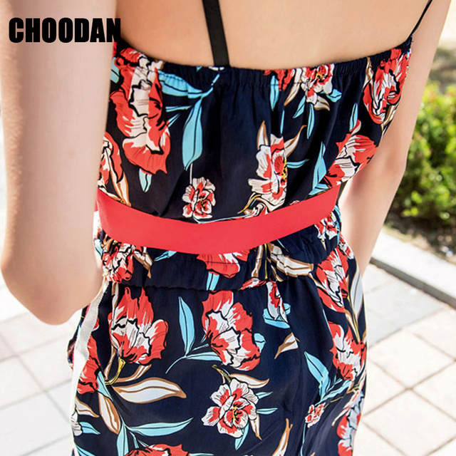 00f2db82d9e Women Jumpsuit Romper Sexy Sleeveless 2018 New Summer Full Length Bodysuit  Floral Print Overalls Female Korean