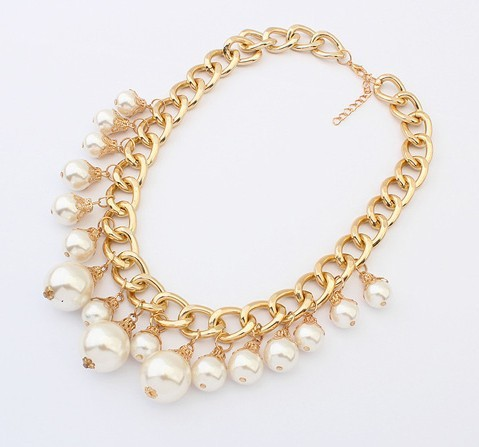 Mother's Gift New 2014 Jewelry Ethnic Pearl Shape Imitation Rhinestone Necklace & Pendants Collar Choker Necklace For Women N561