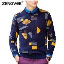Heißer Verkauf Männer Pullover Weiche Jacquard Baumwolle Mode Marke Kleidung Geometrie Vollen Hedging O-ansatz Männlich Pullover Freies Verschiffen