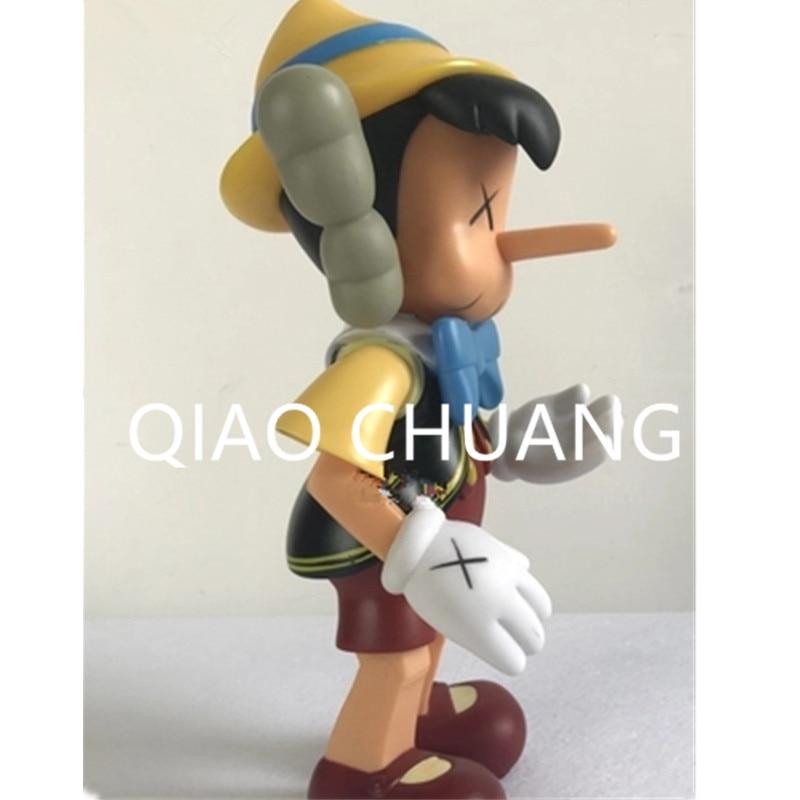Cartoon Pinocchio & Jiminy Stand KAWS Medicom Toy Street Art OriginalFake PVC Action Figure Model Toy G1087