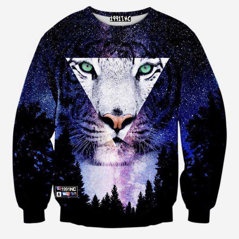195353a226e00 Harajuku style men women s 3D graphic sweatshirts funny print tiger ...