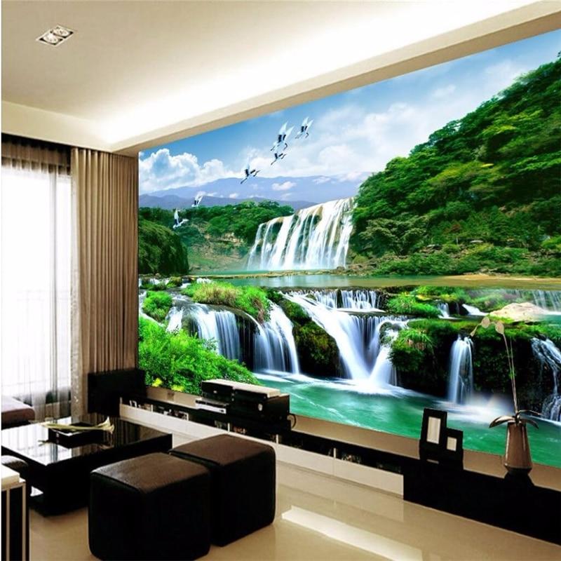 Купить с кэшбэком Beibehang HD custom any size photo wallpaper 3d waterfall beautiful natural landscape home decoration wallpaper for walls 3 d