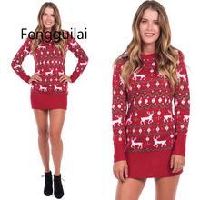 Рождество Sexy Elk Пуловер Тонкий Свитер Платье Женщины Streetwear Повседневная Мини-Свитера Платье  Лучший!