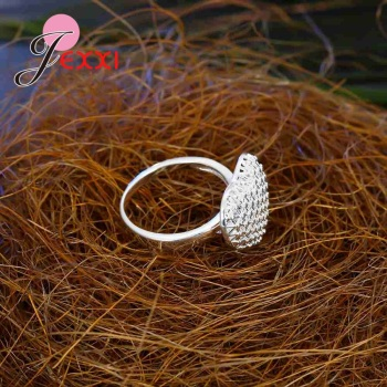 Openwork High Quality 925 Sterling Silver Hollow Design Exaggerated Style Love Heart Shape Finger Ring Bride Jewelry Accessories 4