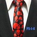 Nova Chegada 5 cm Moda Gravata Dos Homens Casual Estreitos Laços QUENTE Preto com Caveiras Vermelhas Gravata para Festa