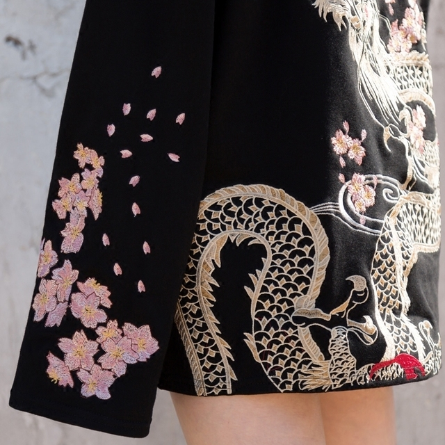 Sakura Embroidery Pullovers for Women O Neck Width Long Sleeve Sweatshirt Fashion Street Style Loose Clothings 1