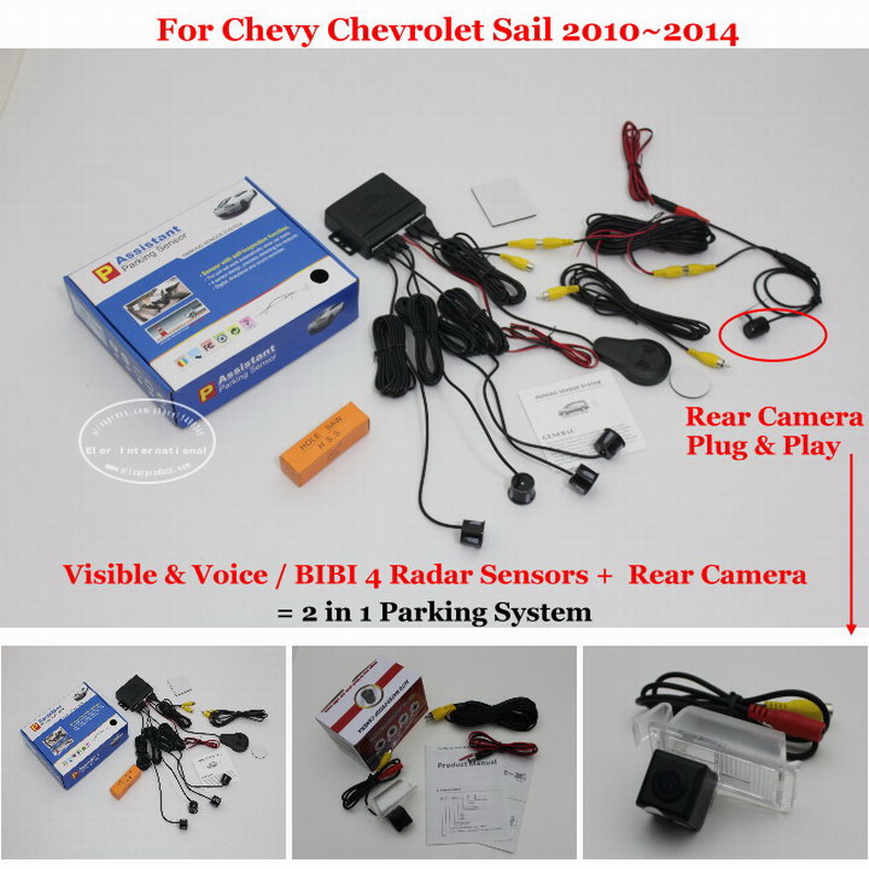 ФОТО For Chevy Chevrolet Sail 2010~2014 - Car Parking Sensors + Rear View Back Up Camera = 2 in 1 Visual / BIBI Alarm Parking System