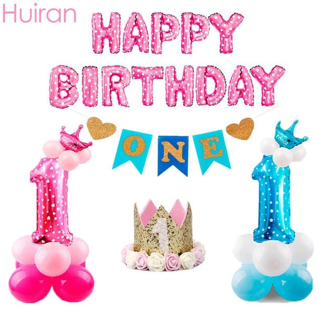Huiran Happy Birthday Balloons Number 0-9 Ballon 1st Birthday Baloon Decor Blue Boy Pink Girl Birthday Party Decorations Kids