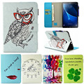 for Samsung Galaxy Tab A A6 10.1 2016 T585 T580 T580N Tablet Case Flip Leather Stand Cartoon Animal Owl Cat Cover Fundas Coque