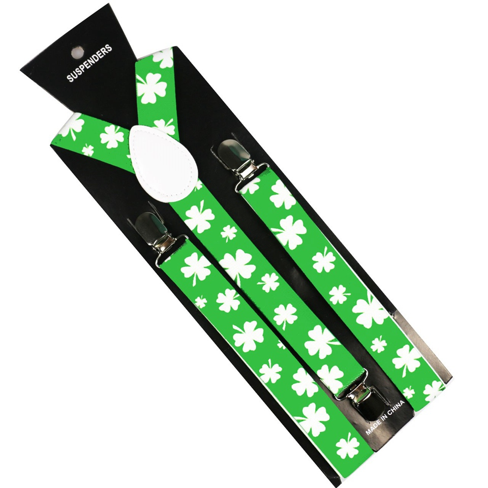 Fashion Green White Four Leaf Clover Print Men Women Clip-on Suspenders Elastic Y-Shape Adjustable Male Ladies Braces