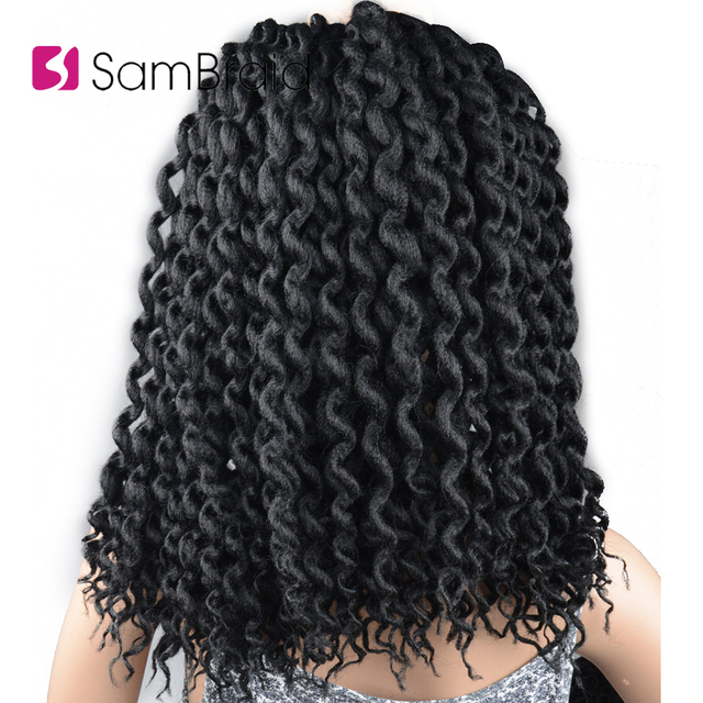 SAMBRAID Faux Locs Curly Crochet Hair Crochet Braids 24 Inch Braiding Hair Extensions Synthetic Hair For Women