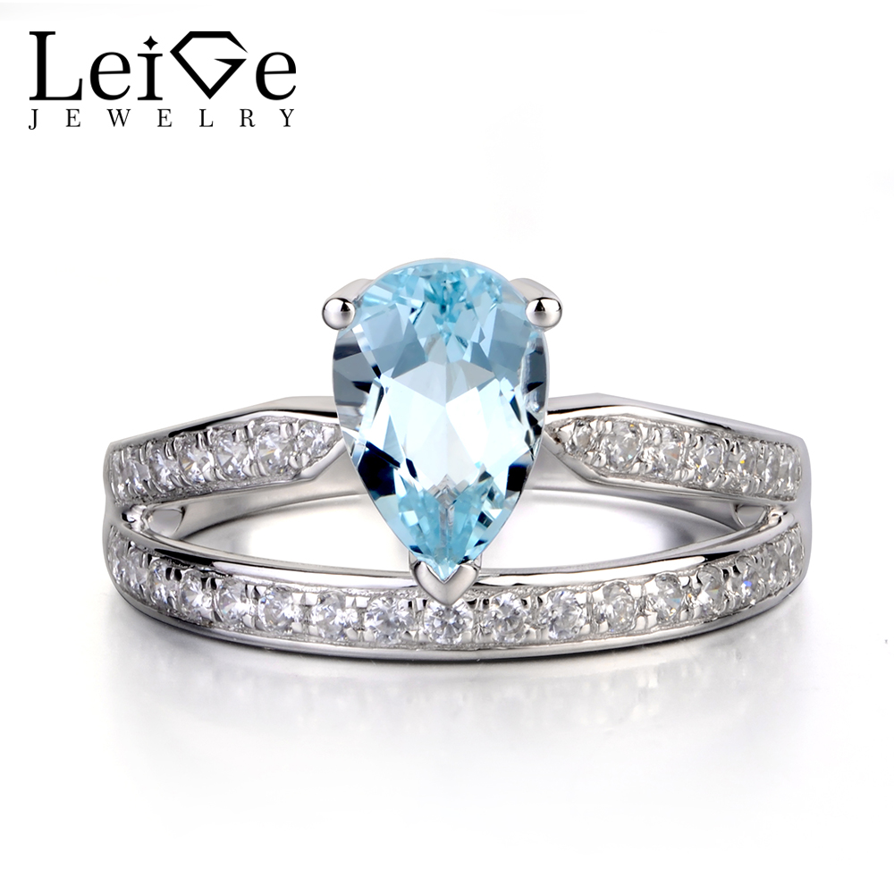 Leige Jewelry Pear Cut Aquamarine Engagement Rings for Women 925 Sterling Silver Wedding Promise Ring Blue Gemstone Jewelry