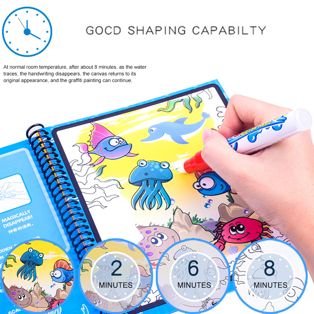 1 PC Child Kids Toy Magic Water Drawing Color Book Doodle W/Magic Pen Painting Board